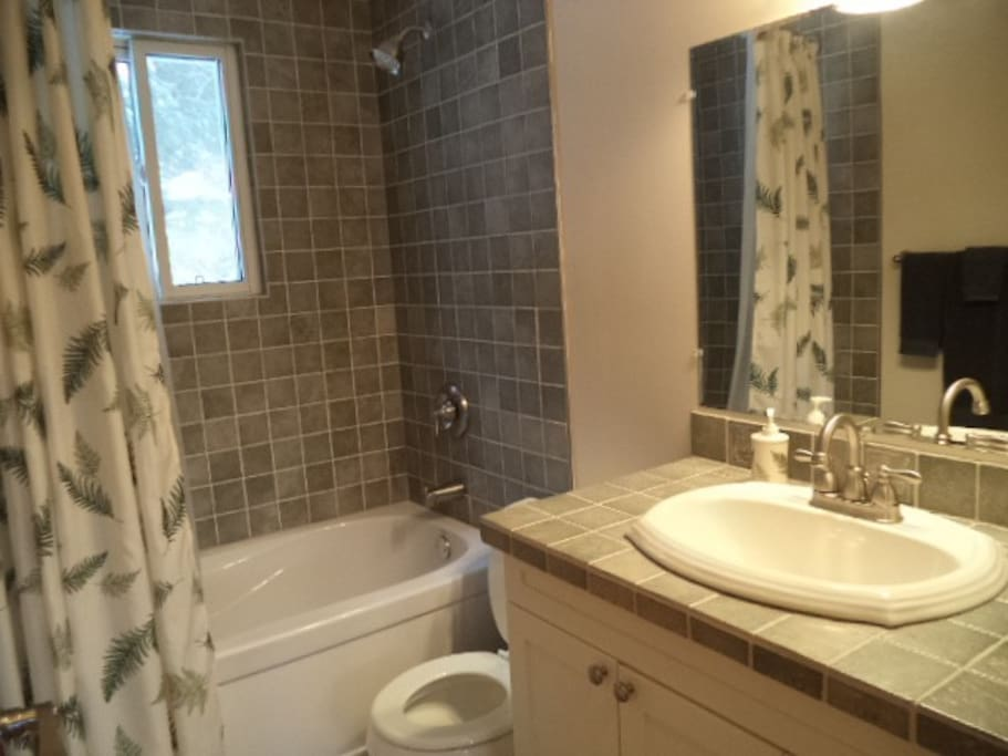 Newly renovated 4 piece upstairs bathroom with deep soaker tub and window in the shower looking into the back forest