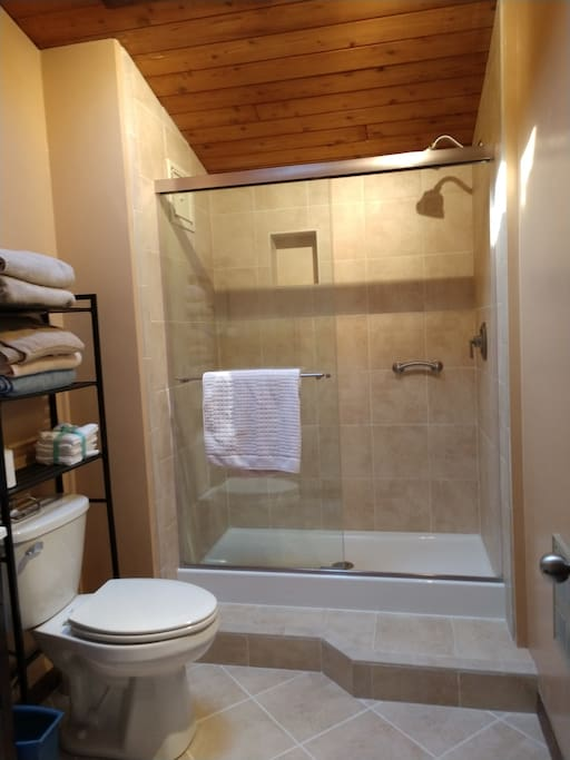Private bathroom with large, tiled, walk-in shower.