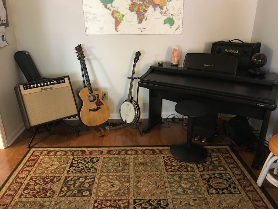 Music room. I'll probably have my acoustic guitar with me but experienced guest are allowed to play the banjo and piano if they'd like.
