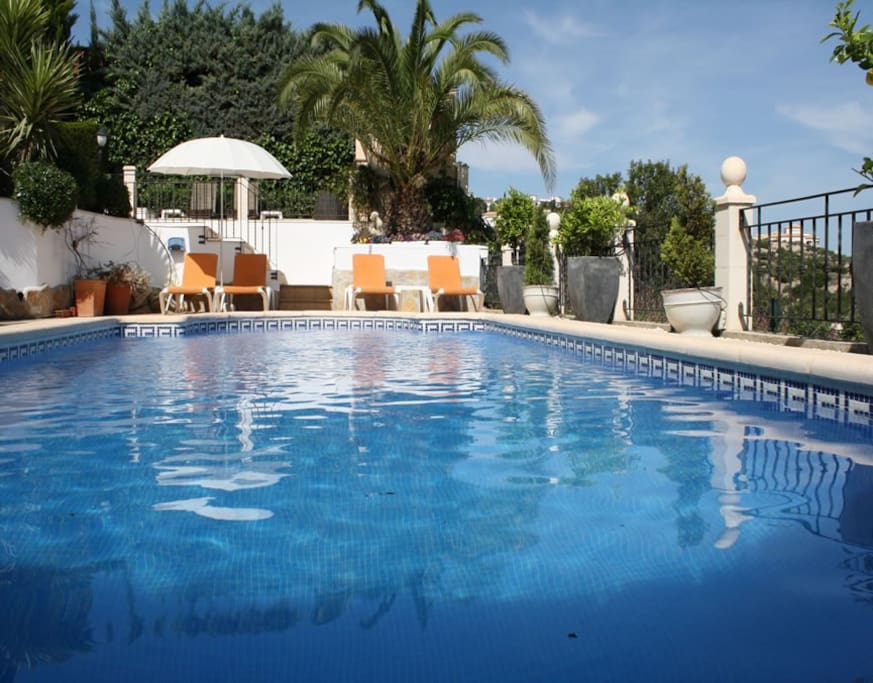 lovely 8m x 4 m private pool with loungers.