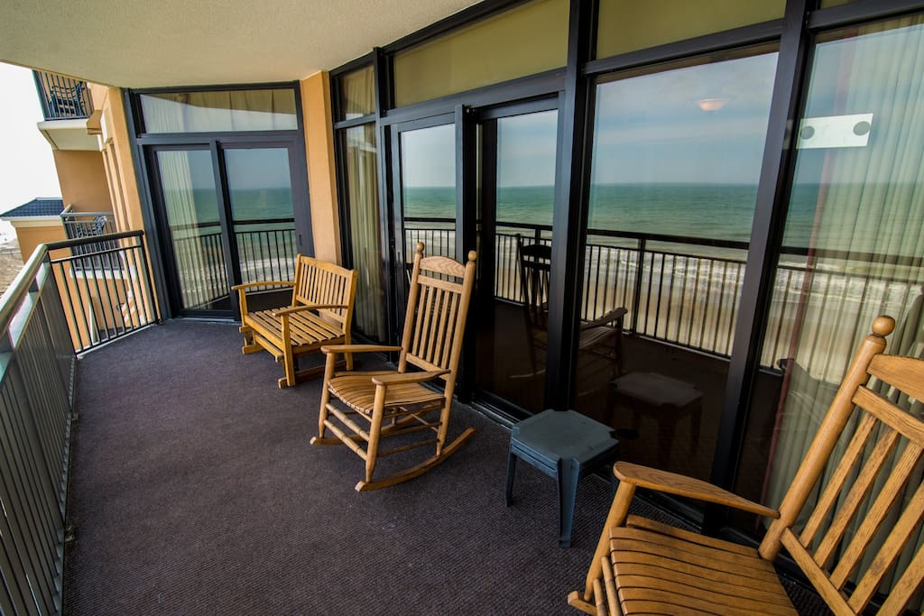 Oceanfront Balcony, balcony seating has been refreshed with multiple coats of durable white paint.