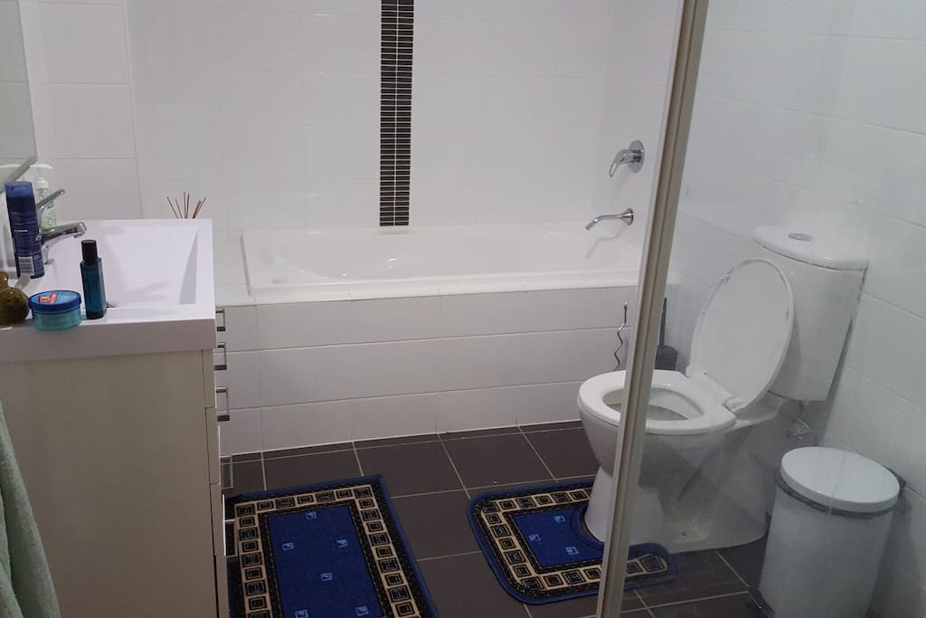 Main bathroom downstairs has combined bath, shower and toilet.