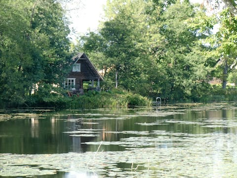 Log house by the river
