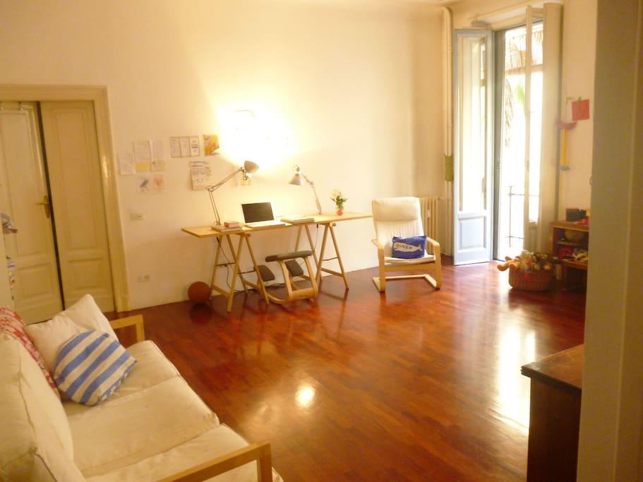 open plan living room-work area