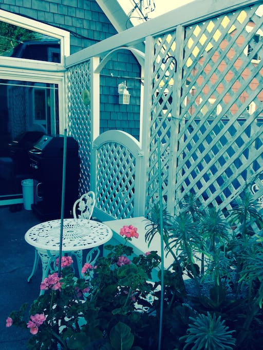 Back yard garden and eating space