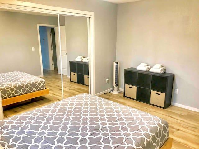 Second bedroom with memory foam mattress
