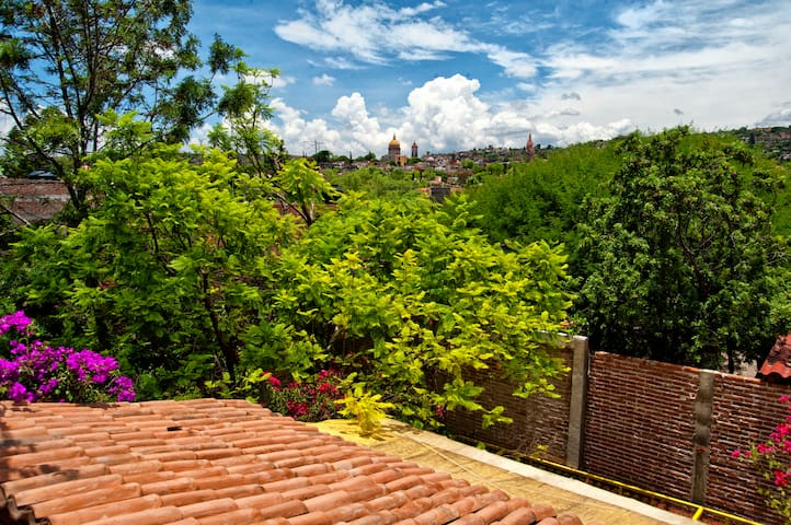 Lie in bed and watch the spires of San Miguel change with the sunrise and sunset