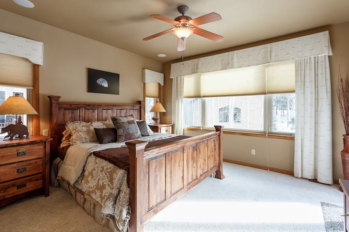 Private master bedroom suite with large bathroom