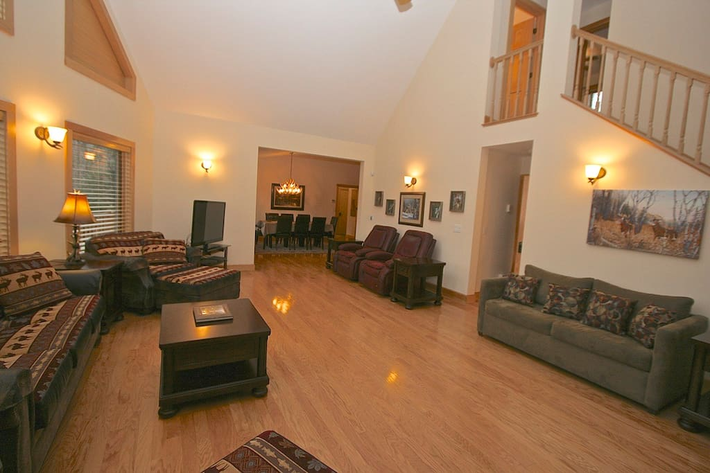 Another view of main living room, open to dining area