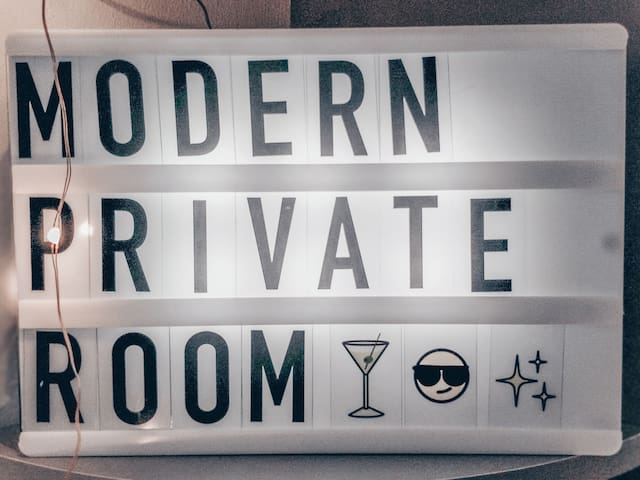 Modern private room with great location!