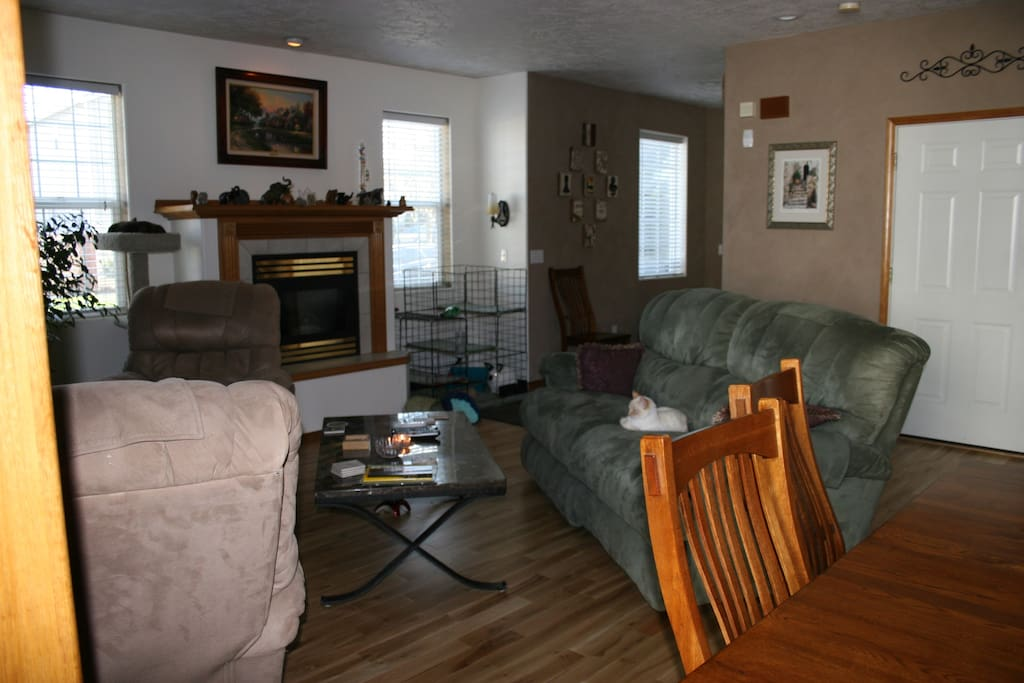 View of the living area from the dining area.