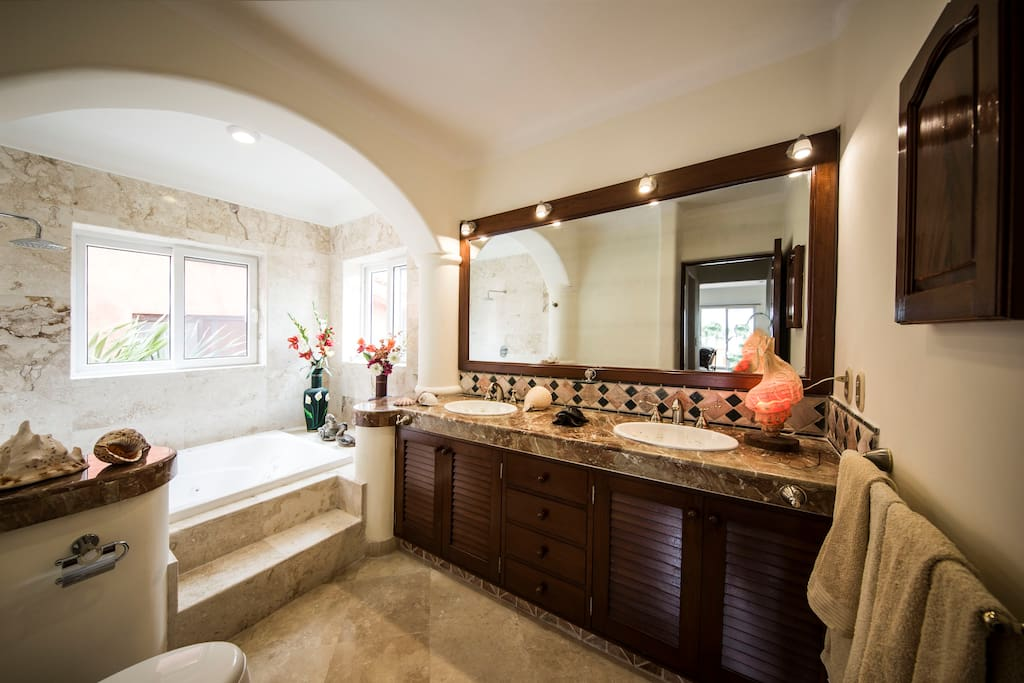 Master bathroom with marble and jacuzzi