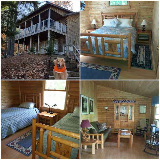 Pet friendly, log home with 2 bedrooms and family living area.