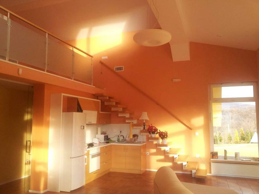 Kitchen and living room at winter time (the sun glows in the house only during the winter)