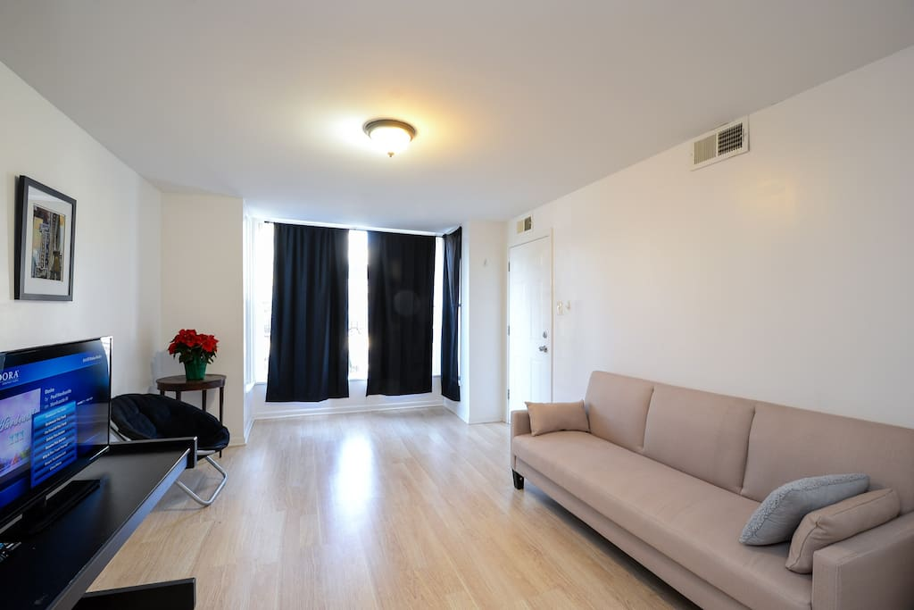 This rental is your own private unit. Complete with three beds and this Sleeper sofa, a tv with Netflix or you can use the supplier hdmi cable. Outlet boxes here too to plug in.