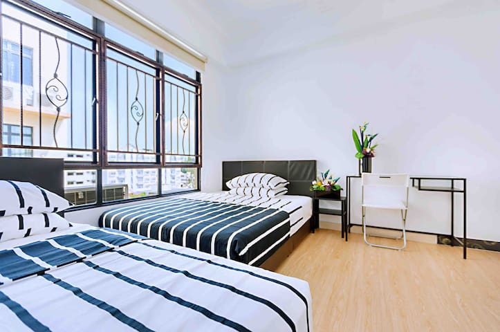 b4 Apt Room With 2 beds Near City/Aljunied MRT