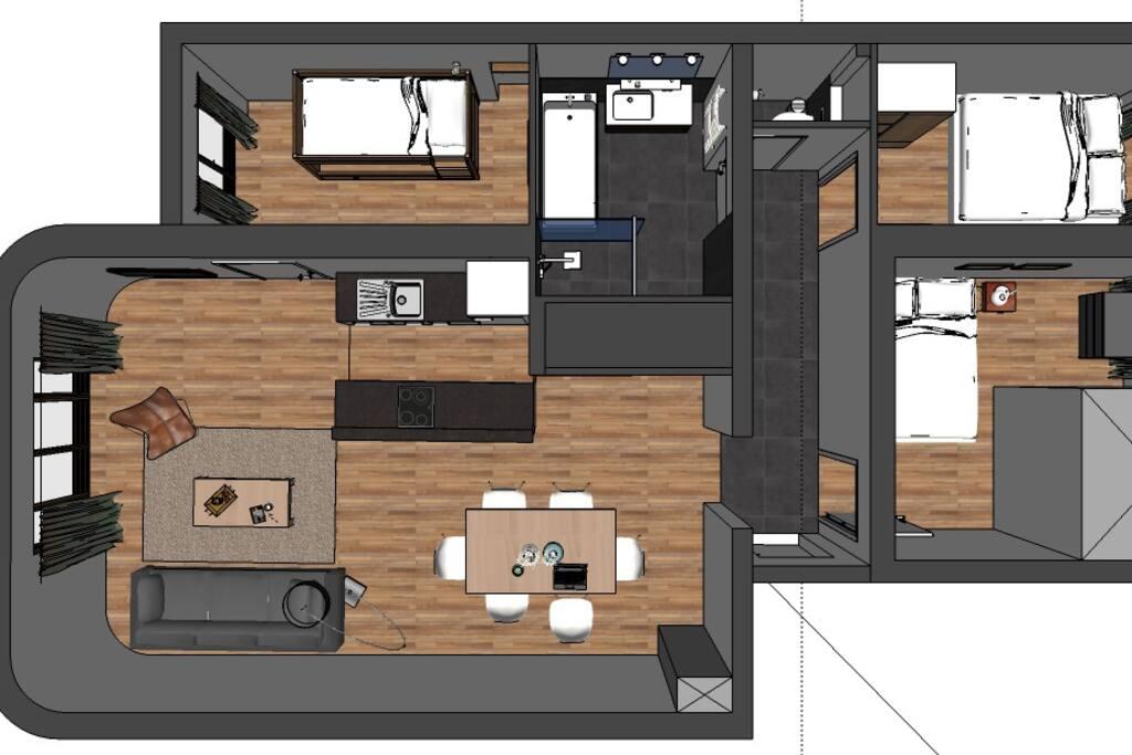 Plan de l'appartement après rénovation complète