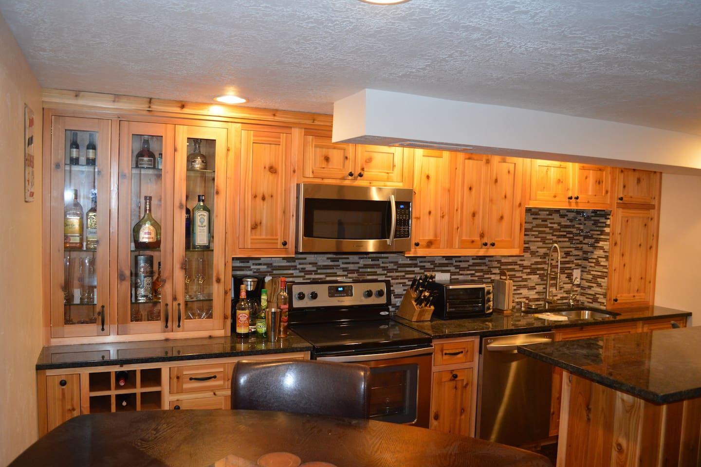 Kitchen with custom cedar cabinets