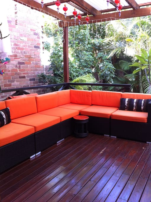Sunny deck in tropical backyard