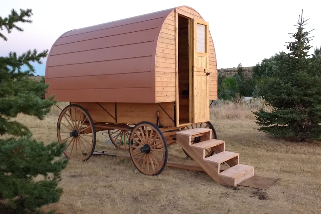 "#2 ""Wanderlust Gypsy Wagon"" with copper metal roof"