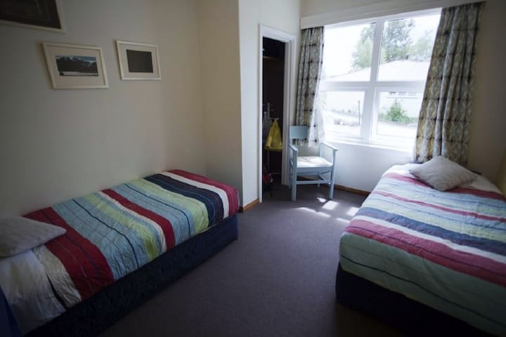 Twin room, complete with heater and hot water bottles