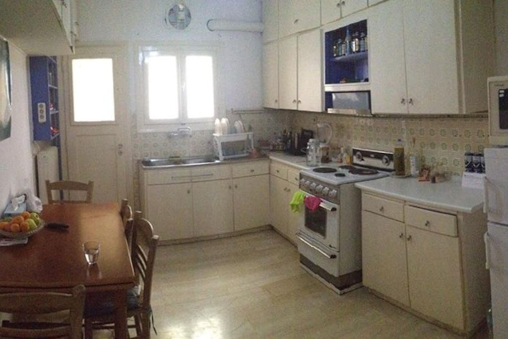 with a big kitchen