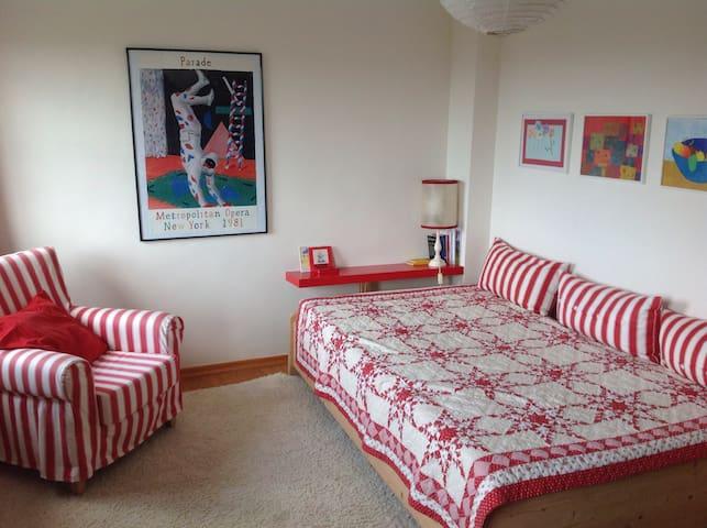 """""""Rotes Zimmer"""" , Bett (1,20x2,00)mit Blick zum Rheintal im Westen"""