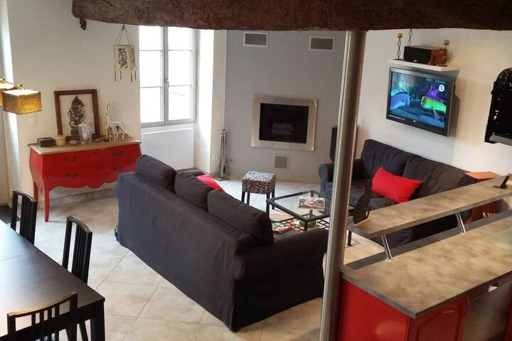 Salon-séjour-cuisine entièrement rénové avec tout le confort nécessaire