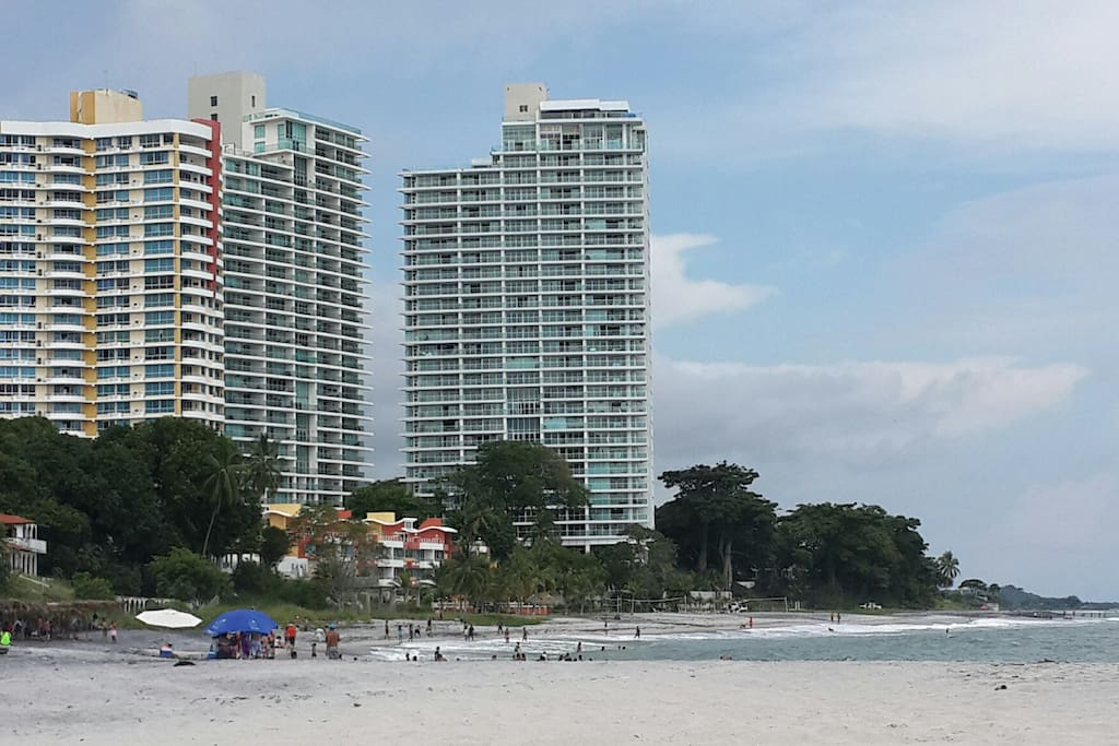 Totally beachfront; apt is located in tower closest to the beach on the side of this building closest to the beach