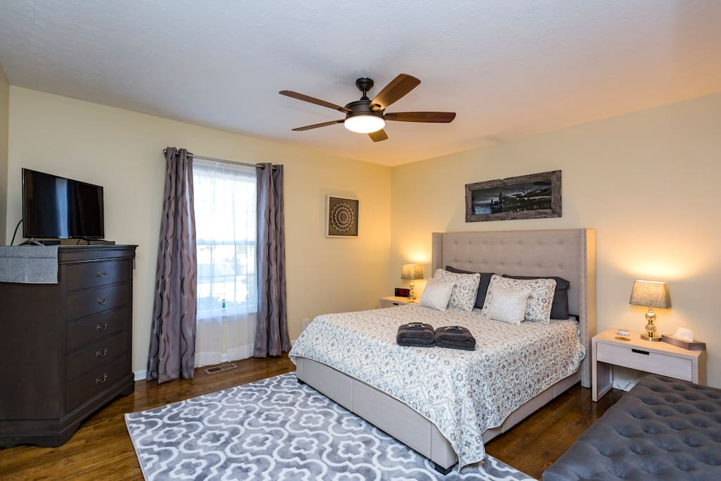 Master bedroom with TV, Queen size bed.