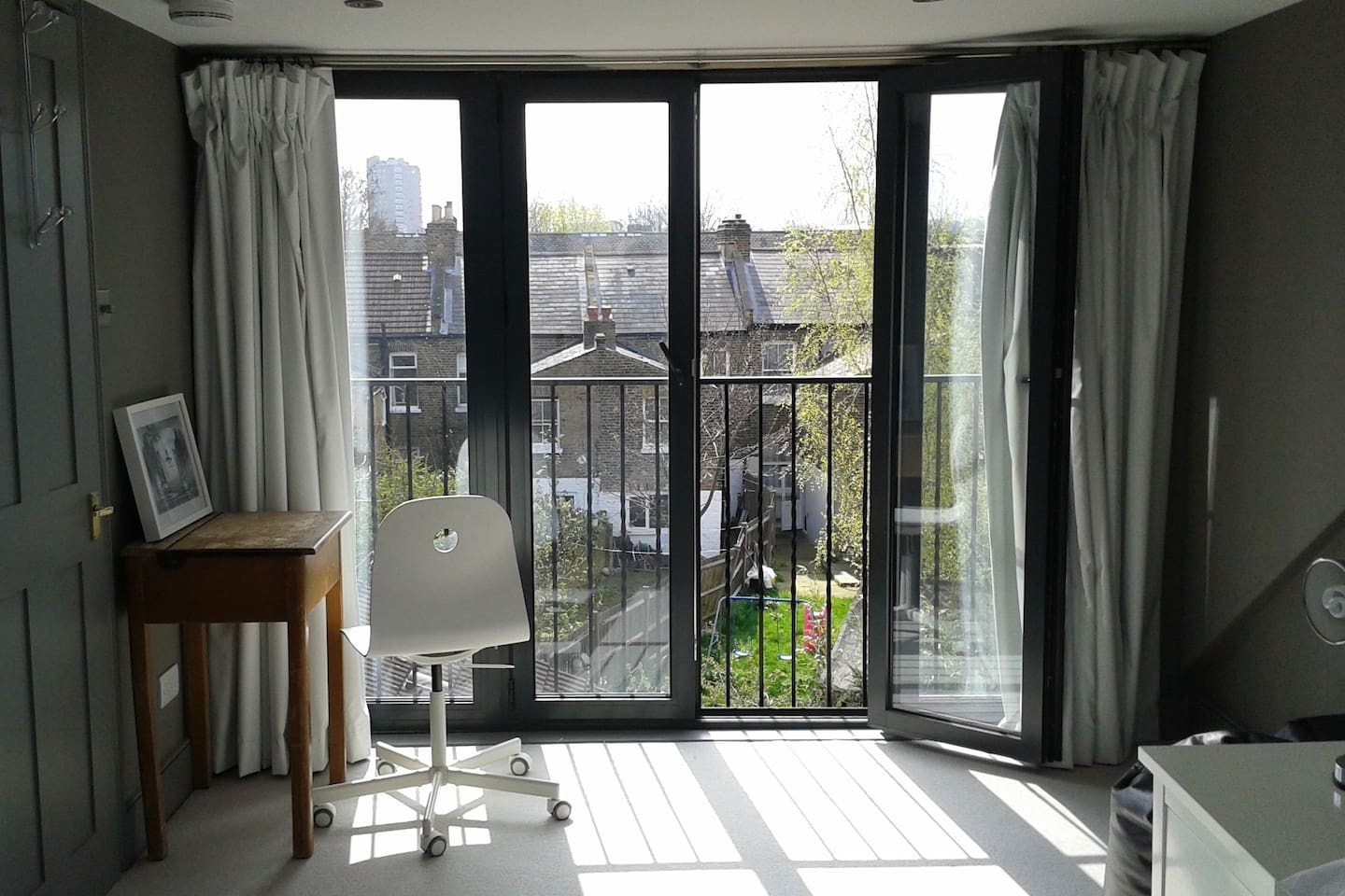 Bedroom French windows and Juliet balcony