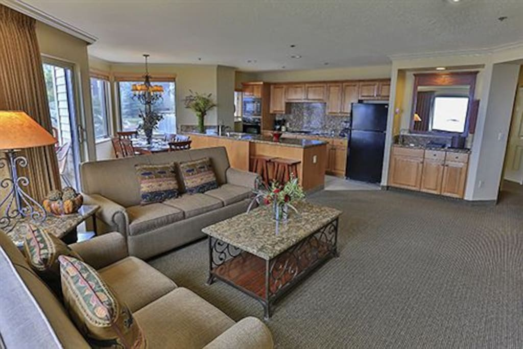Sample kitchen and living area in 1 or 2 bedroom Condo