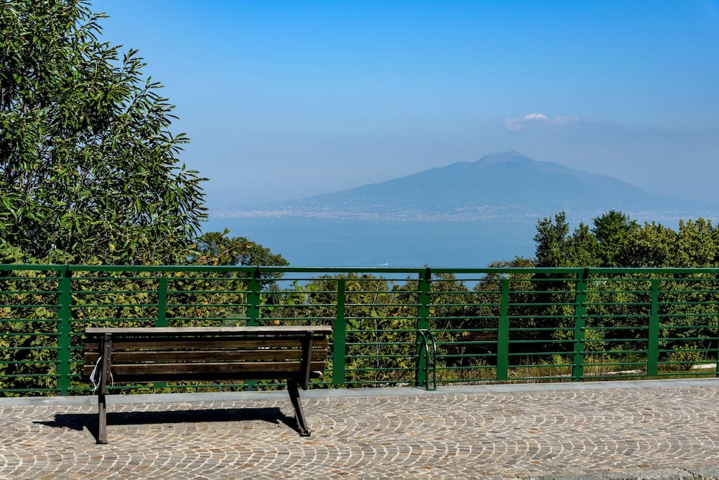 Panoramic view (across the street) of the Bay of Naples and Mount Vesuvius