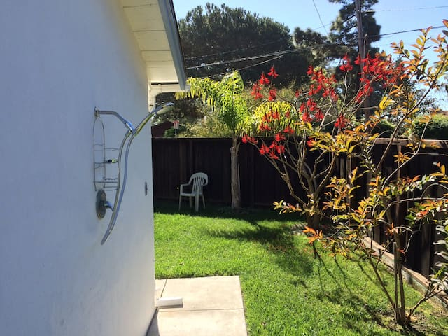 Outdoor shower and our Coral tree in bloom.