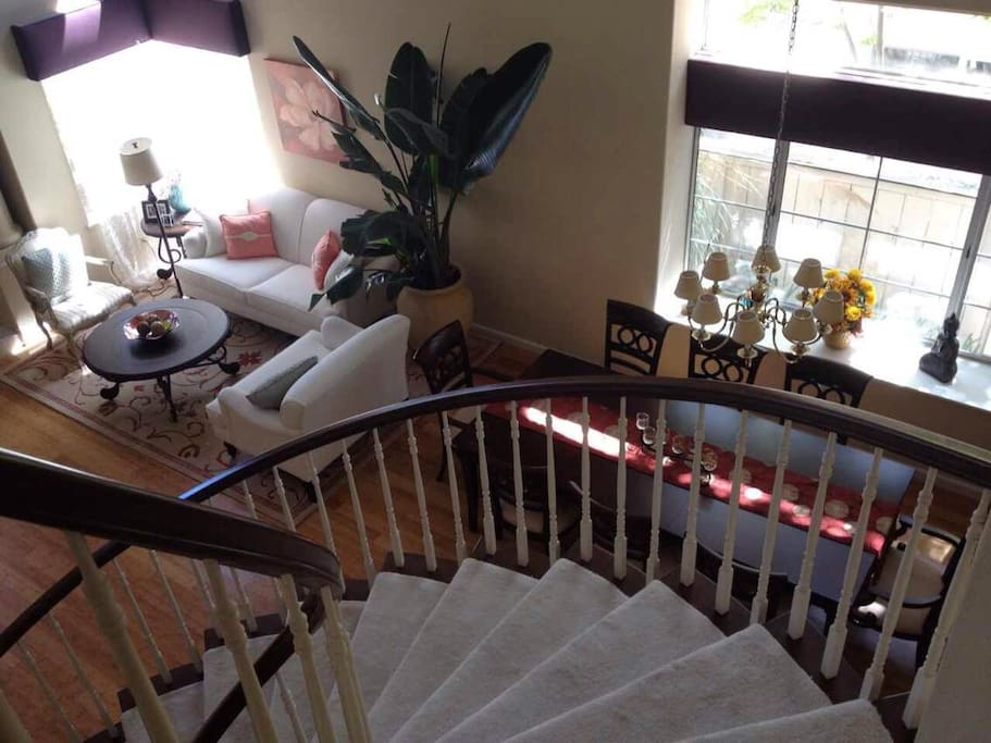 View from upper stairs - living room and dinning room