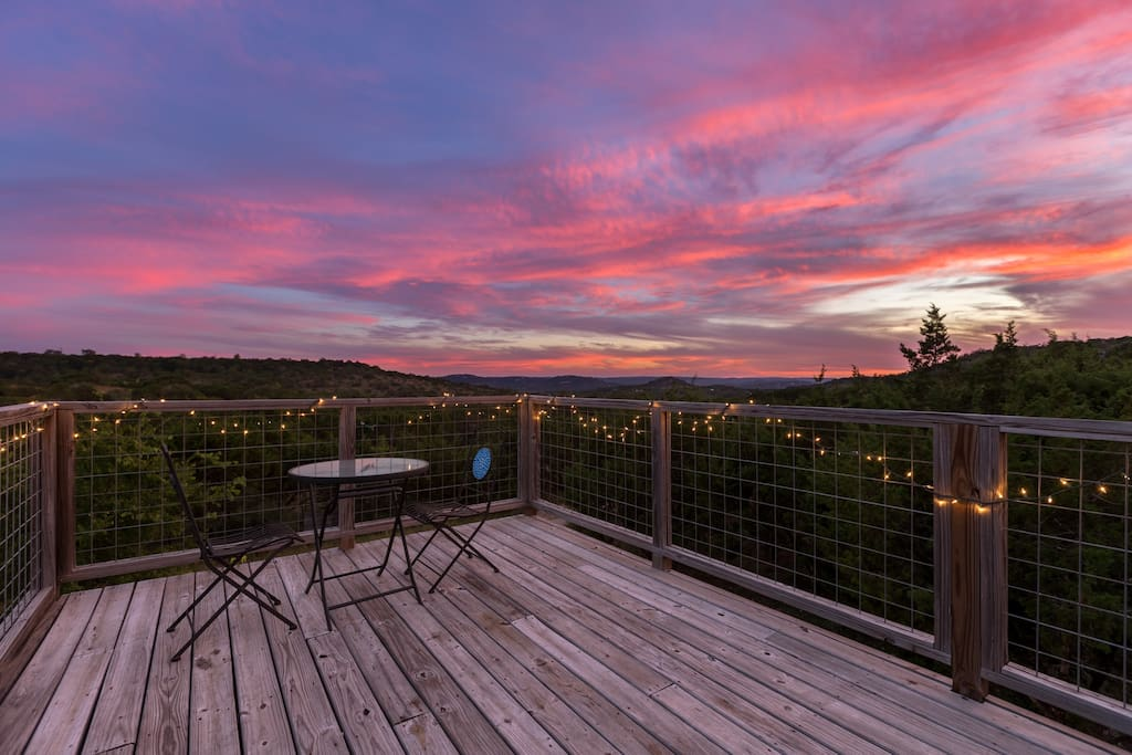 Sunset from the rooftop deck.