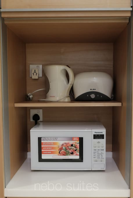 water heater, toaster and microwave,