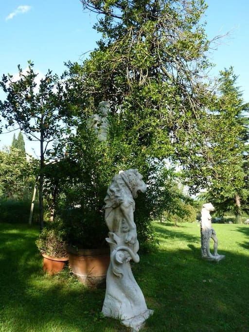 Nineteen century's statues in the garden