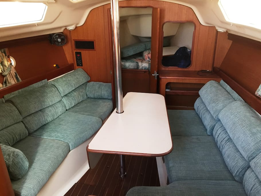 tri cabin layout w/ 2 private cabins, heat &  air conditioning, flatscreen TV w/internet wifi, DVD, Stereo w/CD & ipod jack