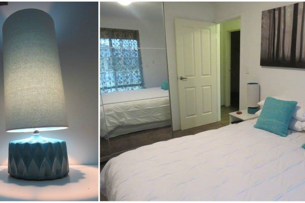 Main Bedroom features Queen Bed, BIR, roller shutters and TV.