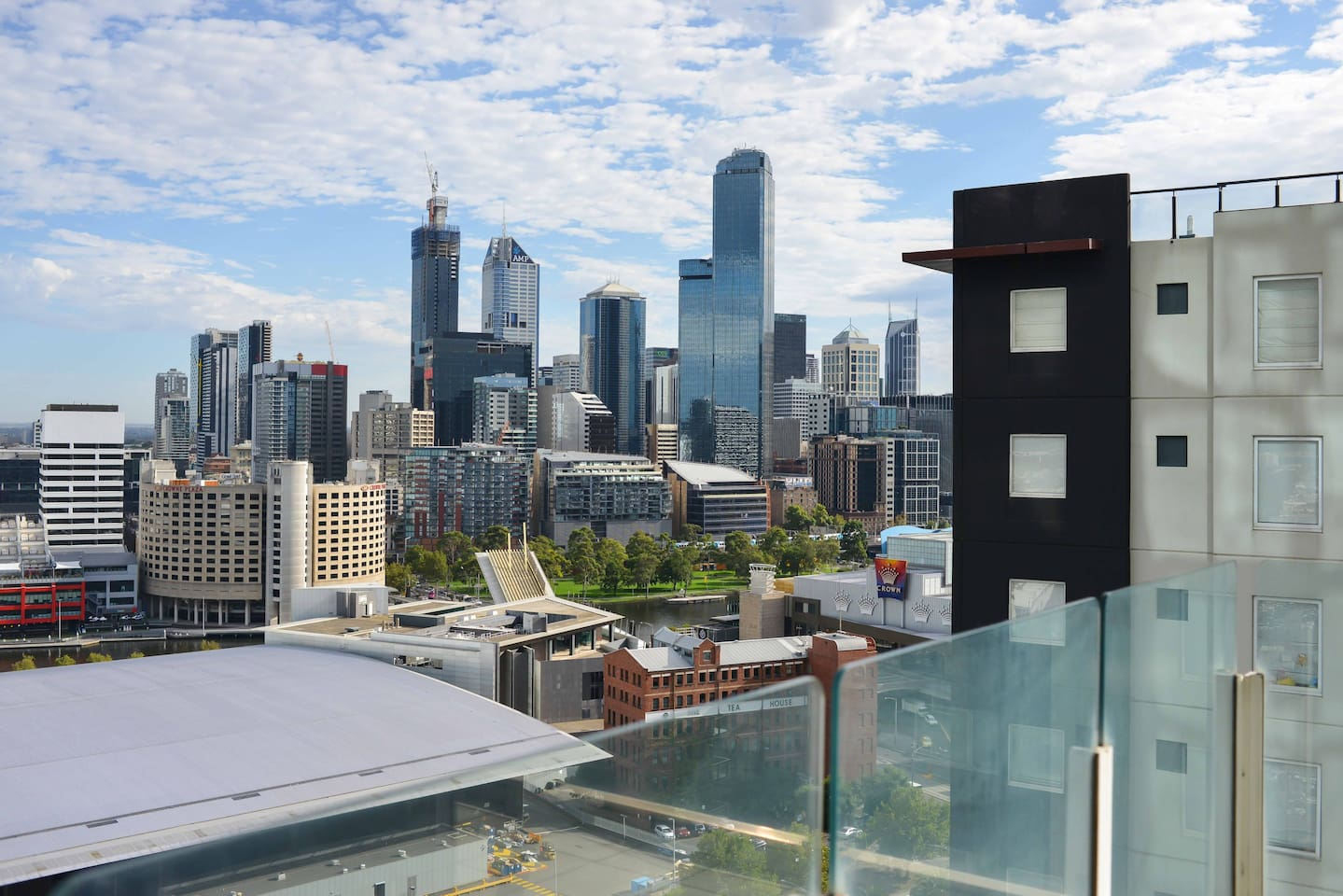 Unobscured view from living room across convention centre to   city of Melbourne