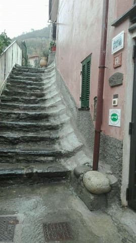 From here(our check in point)  to your apartament are about 5 minutes of stairs. :)