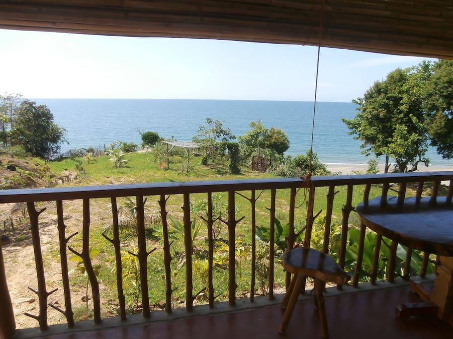 Blick von der Terrasse der Bungalows