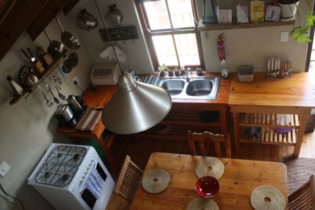 A view of the kitchen from the loft