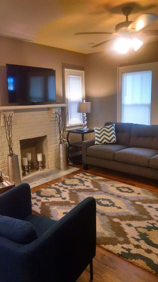 Cozy living room with cable tv