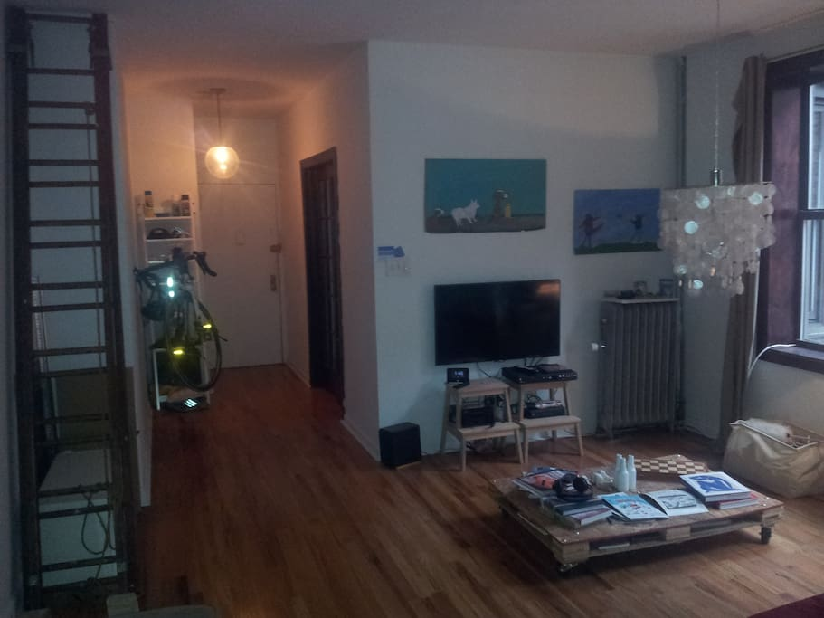 Living room with flat TV, stereo system
