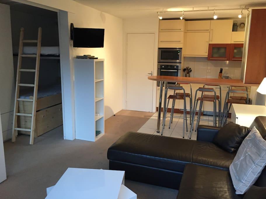 Cabine (grand lit en hauteur, lit1pers en dessous), pièce à vivre/ cuisine
