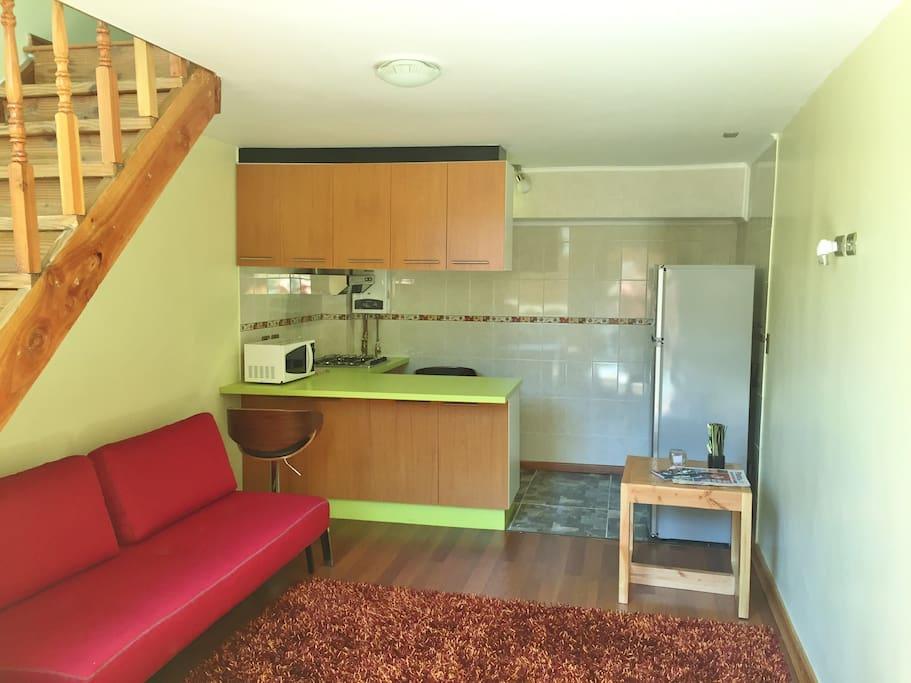 Estar, cocina equipada, refrigerador, sofá cama