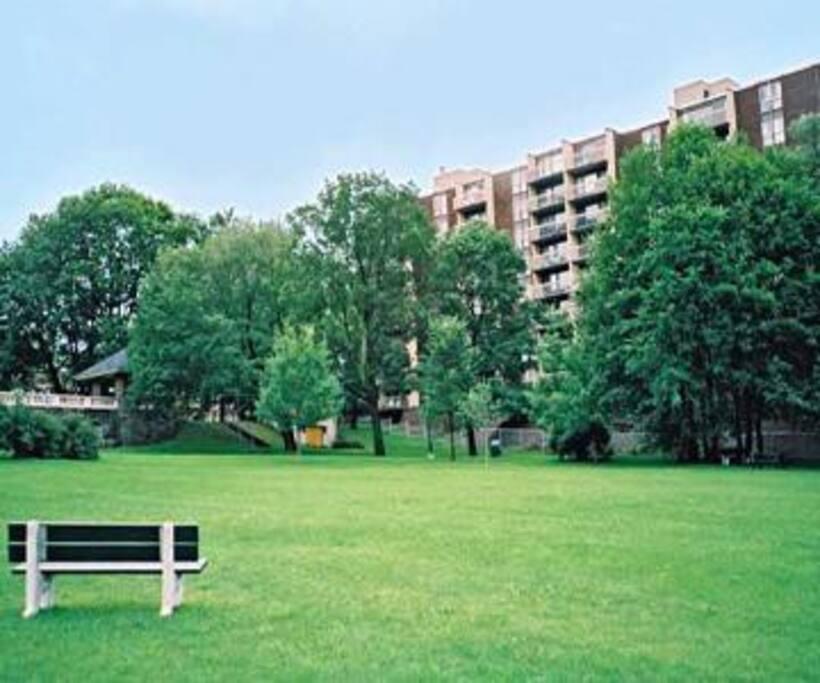 Parc adjacent à l'immeuble