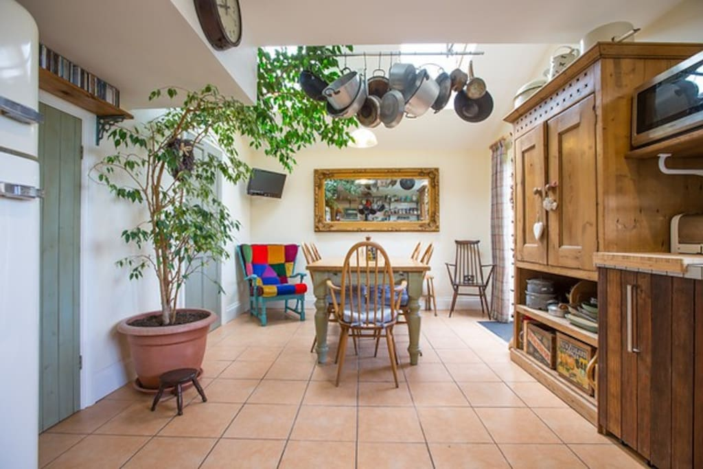 large kitchen diner leading to enclosed garden